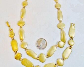 Vintage Liz Claiborne Designer Signed Choker & Bracelet Set Lot Brushed Gold Textured Demi Gift Bridal Art Deco 1980s  Runway Statement