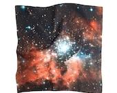 Crimson Galaxy Silk Handkerchief
