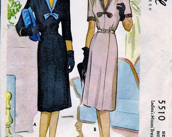 1940's McCall Pattern 5510  *  ELEGANT  Ladies' Cocktail Party  Dress w/Sleeve Options  * Size 16 *  Bust 34