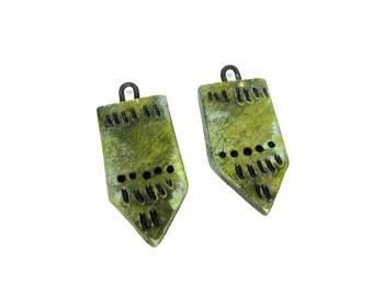 SALE Green Tie Panel Bead Pair - Ceramic Craft Beads Artisan Clay Beads No. 138