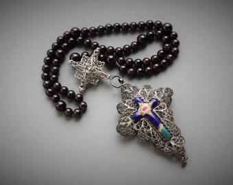 18th century Bavarian Garnet Rosenkranz Filigree Reliquary Cross