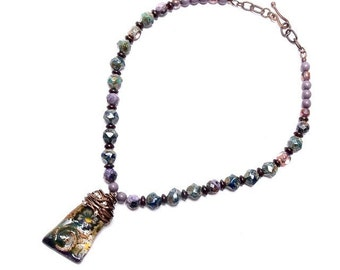 Floral Tapestry, Ceramic Art Bead, Teal and Purple, Handcrafted Necklace