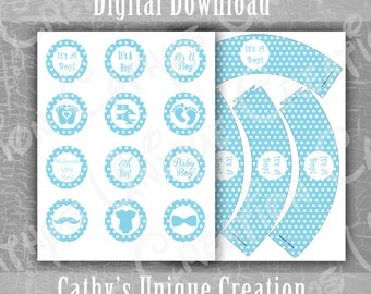 Its A Boy Cupcake Toppers, Cupcake Wrappers, Blue Polka Dots, Baby Shower, Gender Reveal Party, Letter, A4, DIY, Digital Download, Printable
