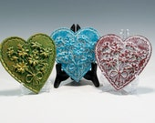 Daisy Heart Heart Ornament Chalkware Springerle Heart Chalkware Ornament Chalkware Heart Ornament Springerle Heart Valentines Heart