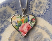 Broken china jewelry heart pendant necklace antique Kent Rosalynde chintz pink rose floral china