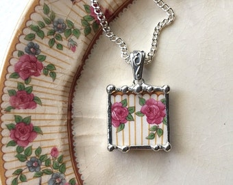 Broken china jewelry pendant necklace antique pink roses made from recycled china