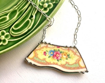 Vintage broken china jewelry necklace made from a broken plate yellow rose blue and pink flowers