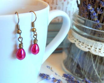 SALE - Earrings, Adorable Pearl Teardrops, Antique Brass Wire Wrapped Charms, Petite Pearl Jewelry, Handmade Jewelry Gifts by HoneyNest