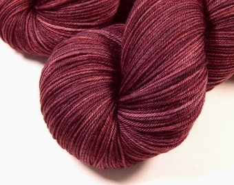 Hand Dyed Yarn - Sock Weight 4 Ply Superwash Merino Wool Yarn - Damson Plum - Knitting Yarn, Sock Yarn, Wool Yarn, Tonal Yarn