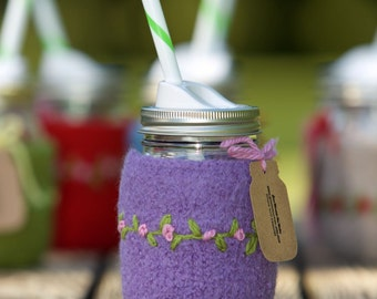 Pint size Felted wool mason jar cozy set purple with flowers