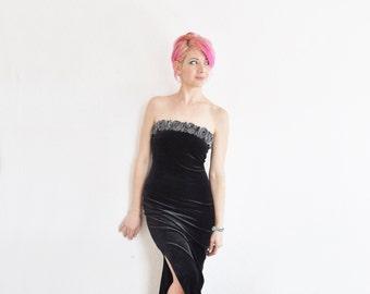 metallic rosebud dress . strapless black velvet gown .extra small.small.xs .sale