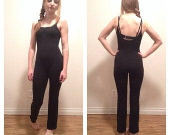 90s Bodysuit Black, Tank Top BodySuit, Black leotard, Straight Leg, Yoga Body Suit, Pants Leotard, Leotard, Dance Costume, Ballet, S M L