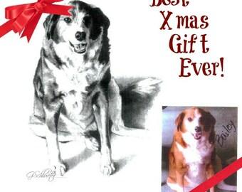 Christmas Gift Idea Custom Pet Portrait From Your Photos