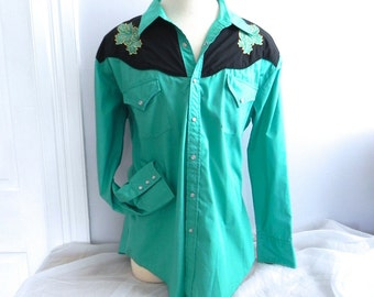 Vintage Men's Western Shirt , Turquoise and Black Cowboy Shirt XL - on sale