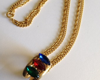 Blue Red Green Rhinestone Pendant Necklace Double Chain