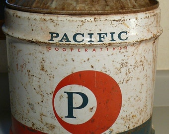 Vintage Gas Can Pacific Cooperatives Oil Gasoline Advertising