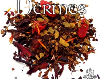 Hermes Devotional Tea - loose leaf honeybush tea, strawberry, hibiscus, cinnamon, safflower, pomegranate, honey, Hellenic pagan, Mercury