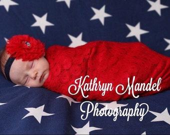 4th of July Headband, Patriotic, Infant Headband, Baby Headband, Newborn Headband, American Flag, Red White and Blue Headband, Flower Girl