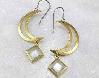 Brass Moon & Jewel Earrings | E21616