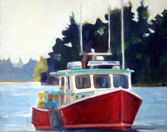 Red Majestic Lobster Boat - Friendship Harbor, Maine - Original Oil Painting 12 x 12