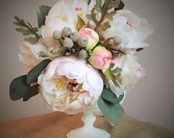 Blush pink peony bridal keepsake wedding bouquet, bridesmaid bouquet, silk bouquet, flower bouquet, artificial bouquet
