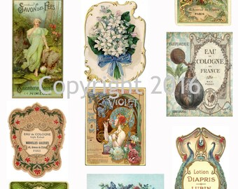 Printable French Vintage Perfume Labels Collage Sheet 102.  Instant Digital Download,  Altered Art, Scrapbook Embellishments