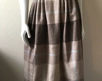 Vintage Women's 80's Plaid Skirt, Tan, Brown, A Line, Wool, Polyester (XS)