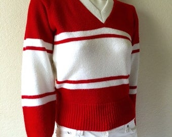 Vintage Women's 80's Cheer Sweater, Red, White, Striped, Long Sleeve (S)