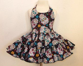 Folkloric Sugar Skulls Day of the Dead Twirly Sundress Halter Dress cool cotton fabric Baby Infant Toddlers Girls Sizes