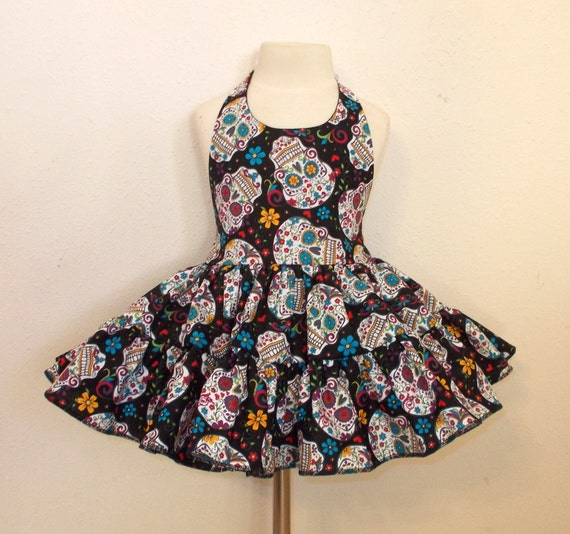 Folkloric Sugar Skulls Day of the Dead Twirly Sundress Halter Dress cool cotton fabric Baby <a href=