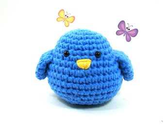 Crochet Blue Bird Amigurumi Plush Toy, Stuffed Animal Bird, Roly Poly Bird, Bluebird Decoration, Blue Bird of Happiness Ornament Room Decor