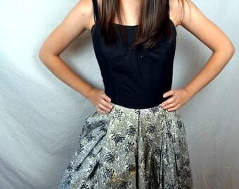 Vintage 1950s 50s Distressed Black White Cotton Pretty Summer Dress - XS