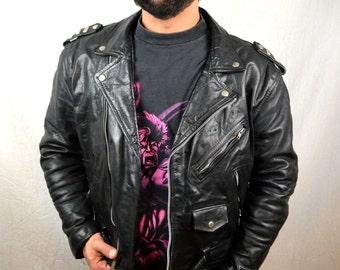 Great Vintage Vtg Black Leather Coat Punk Rocker Biker Motorcycle Jacket