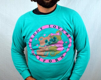Fun Vintage 80s Weird Teddy Bear Kitschy Sweatshirt