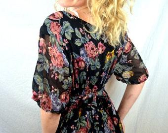 Vintage 80s Floral Rayon Grunge Summer Flower Dress