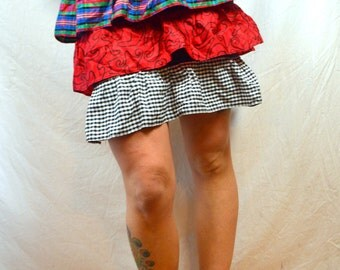 Vintage 80s Tiered Ruffled Mini Party Skirt