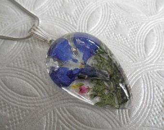 Blue Lobelia, Pink Veronica,Sweet Yellow Clover, Queen Anne's Lace &Ferns Glass Teardrop Pressed Flower Pendant-Gifts Under 30-Nature's Art
