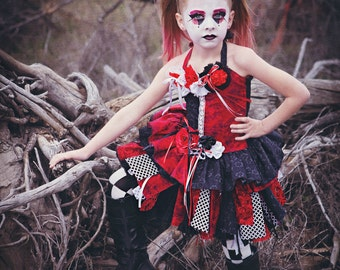 Harley Quinn Harlequin Goth Fairy Costume Queen of Hearts Costume Custom made to order. Costume for Halloween. Party Costume. Harley Quinn