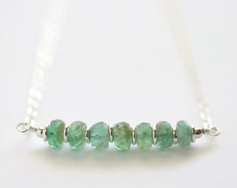 Genuine Emerald Necklace / Emerald Bar Necklace / Sterling Silver / May Birthstone Jewelry / Understated Jewelry