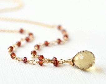 Garnet Beaded Necklace / Quartz Necklace / Gemstone Necklace Gold Fill / Garnet Rosary Style Necklace