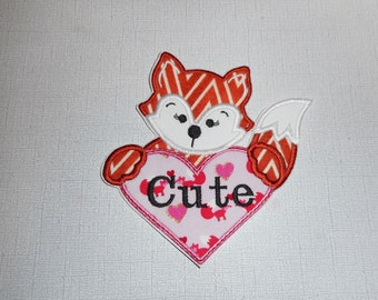 Free    Shipping Ready   to Ship  Valentine  Cute Fox Machine Embroidery Iron on applique