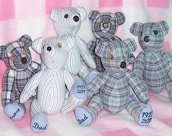 Memory Bears made from men's shirts - Watch the Magic as they transform