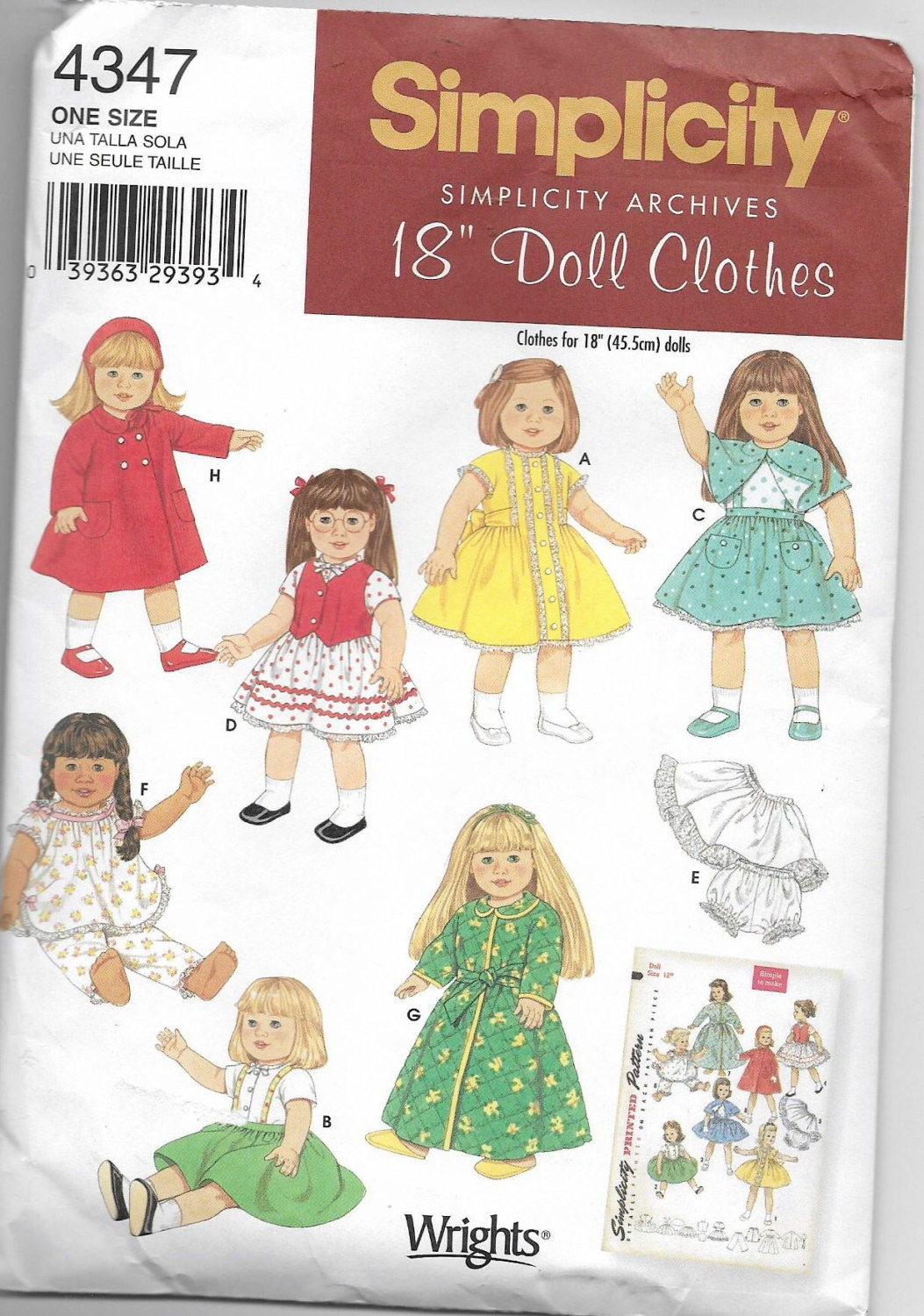 4347 Best Cute Guy Images On Pinterest: Uncut 18 Inch Doll Clothes Sewing Pattern Simplicity 4347