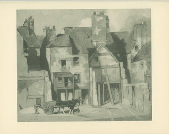 Skinnergate, Perth, Scotland, Vintage Print 133, 1952, WW2 Scottish Architecture, Library Decor, Gift for Him, War Artist, John Spence Smith