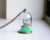 Raccoon Terrarium Necklace - glass globe pendant, tiny raccoon necklace, glass bell jar terrarium, miniature polymer clay