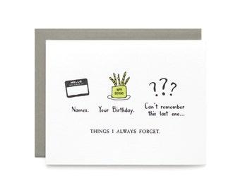 Belated Birthday - letterpress card
