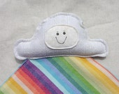 Cloudy Rainbow Lovey Lovie Blanket - Didymos Indio Wrap Scrap and Radiating Rainbow Wrap Scrap
