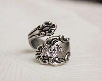 Bat Spoon Ring Silver Victorian Gothic