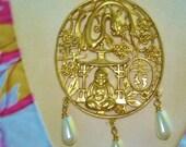 Asian Buda Flower Snake Animal Pearl Pendant