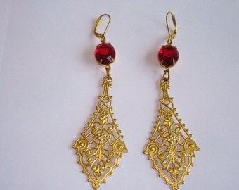 Ruby Red Dangle Earrings Gold Tone